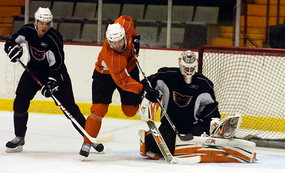 Goalie Cal Hetter blocked a goal shot during practice on the first day of practice for the Adirondack Phantoms at the Glens Falls Civic Center. Photo Erica Miller 10/9/12 spt_Hetter1_Thurs