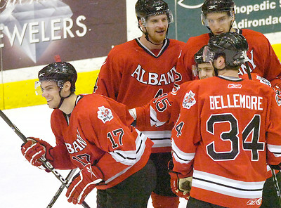 Albany River Rat  Jerome Samson (17) smiles after receiving congratulations on scoring his second goal in the first period during Wednesday's matchup against the Adirondack Phantoms in Glens Falls. Ed Burke 3/24/10