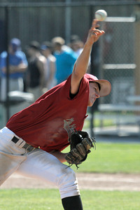 Josh Jackson/The Times-Standard  NoHum's #6 fires the final pitch during Wednesday's game in Arcata.