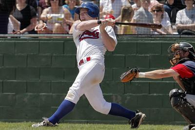 Josh Jackson/The Times-Standard  Crabs' Brad Morgan bats in a run during Sunday's game in Arcata.