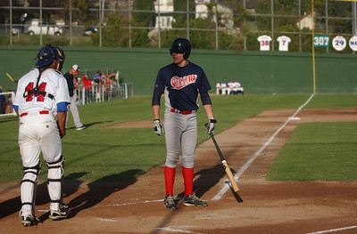 The California Glory's XX argues a called strike three with plate ump Don Haulfalker during Saturday's game against the Humboldt Crabs.