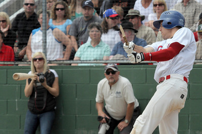 Josh Jackson/The Times-Standard  Crabs' #17 breaks his bat during Monday's game in Arcata.