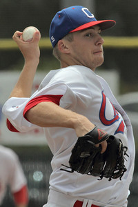 Josh Jackson/The Times-Standard  Crabs' #7 pitches during Monday's game in Arcata.