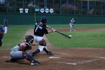 José Quezada/For the Times-Standard  #1 Del Grande gets a hit to score an RBI.