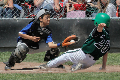 Josh Jackson/The Times-Standard  Blue Lake's Lorenzo Merlin defends home plate against Redwood Empire's Tanner Bell during Sunday's game in Cutten.