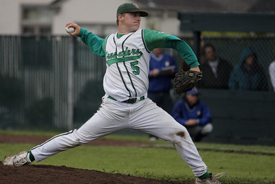 Josh Jackson/The Times-Standard  Crusaders' #5 fires a pitch during Saturday's game in Eureka.