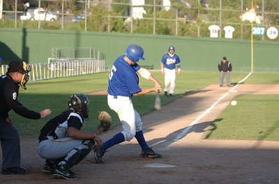 The Humboldt Steelheads' Dave Grytness connects for an two-RBI double against the Sluggers in the X inning of Thursday's game