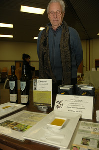 Thilo Ullmann-Zahn of All Mediterranea displays a selection of gourmet olive oils from Spain. photo by Tony Bucca