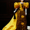 """The Golden Lady"", on display at Ventfort Hall in Lenox, is one of 61, 29 inch dolls wearing original  period gowns created by John Burbidge.  The collection took more than 30 years to create.  Lenox, 5/23/10 - Ian Grey"