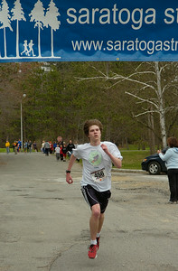 Matt Rocco of Saratoga Springs finishes 2nd overall in Saturday's St. Peter's 10K race at Saratoga Spa State Park. Ed Burke 4/18/09
