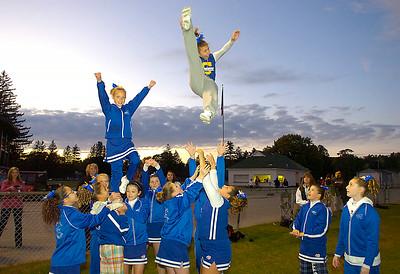 Saratoga Pop Warner cheerleaders cheer on the Blue Streaks during Saturday's game at East Side Rec. Ed Burke 10/17/09