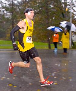 Justin Bishop of Colonie was the first male finisher in the Great Pumpkin Challenge 5K. Ed Burke 10/24/09