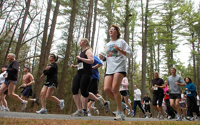 Runners compete in the 10k distance of Saturday's St. Peter's Keys Run at Saratoga Spa State Park. The morning event also included a kids run and and a 5K. It was the 30th year for the event. Ed Burke 4/18/09
