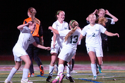 Shenendehowa's Meghan Merritt celebrates after scoring their second goal during the second half forcing them into overtime against Bethlehem during their Section II Class A Championship game. Photo Erica Miller 11/9/11 spt_ShenBeth2_Thur