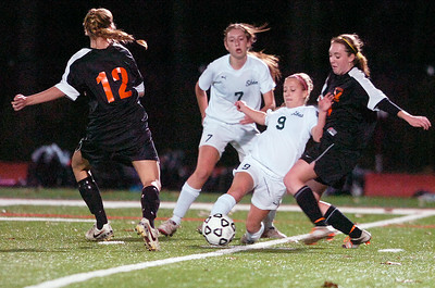 Shenendehowa's Shannon McMillian kicks the ball during their Section II Class A Championship game against Shenendehowa. Photo Erica Miller 11/9/11 spt_ShenBeth7_Thur