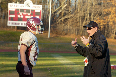 Burnt Hills-Ballston Lake Varsity football coach Matt Shell during practice on Monday afternoon. This week they will be competing in the Championships in Syracuse. Photo Erica Miller 11/21/11 spt_BHBLprac1_Wed