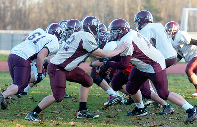 Burnt Hills-Ballston Lake Varsity football team during practice on Monday afternoon. This week they will be competing in the Championships in Syracuse. Photo Erica Miller 11/21/11 spt_BHBLprac4_Wed