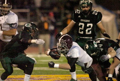 BHBL's Daniel Porter dives for yardage during Friday's Class A semi at Dietz Stadium in Kingston. Ed Burke 11/18/11