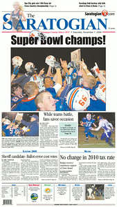 The front page of the Nov. 7, 2009 issue of The Saratogian, following the Blue Streaks' victory in the Section II Class AA Super Bowl against Ballston Spa the previous night.