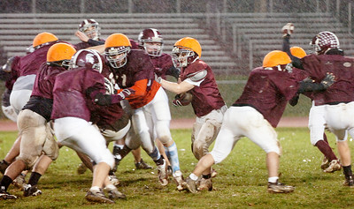 Burnt Hills Ballston Lake Varsity Football team practices Wednesday evening in anticipation for their big game Saturday evening at the Carrier Dome in Syracuse. Photo Erica Miller 11/25/09 spt_pracBHBL1_Sat