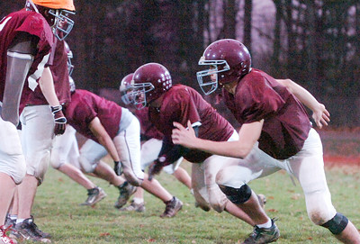 Burnt Hills Ballston Lake Varsity Football team practices Wednesday evening in anticipation for their big game Saturday evening at the Carrier Dome in Syracuse. Photo Erica Miller 11/25/09 spt_pracBHBL3_Sat