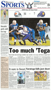 The front of the Sports page in the Nov. 7, 2009 issue of The Saratogian, following the Blue Streaks' victory in the Section II Class AA Super Bowl against Ballston Spa the previous night.