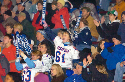 Saratoga Fans Cheer during their game against New Rochelle Saturday evening in Kingston. Photo Erica Miller 11/21/09 news_togaFootball3_Sun