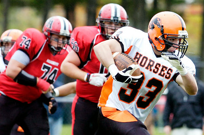 Schuylerville's Steve Booth carries the ball down the field during their playoff football game against Albany Academy at Albany Academy Saturday afternoon. Photo Erica Miller 10/23/10 spt_SchyAlb3_Sun