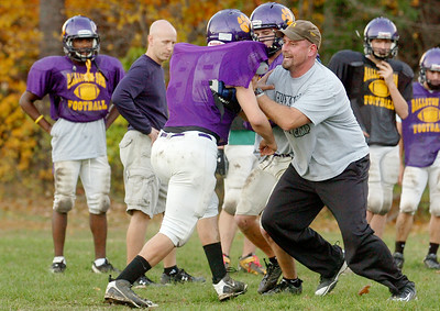 Ballston Spa Head Coach John Bowen demonstrates drills during practice Tuesday afternoon, Friday will be their sectional semi-final against Shenendehowa. Photo Erica Miller 10/26/10 spt_BspaPrac2_Fri