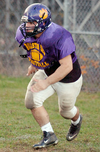 Ballston Spa's Chris Ohnsman runs for a block during practice drill Tuesday afternoon, Friday will be their sectional semi-final against Shenendehowa. Photo Erica Miller 10/26/10 spt_BspaPrac4_Fri