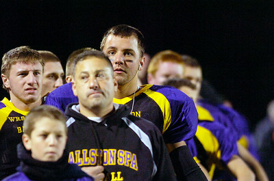 Ballston Spa players turn to the flag for the National Anthem for their semifinals football game against Shenendehowa Friday evening at Ballston Spa. Photo Erica Miller 10/29/10 bspa_BspaShen2