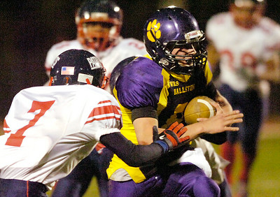 Schenectady's Rondu Martin closes in on Ballston's Troy Garguilo during Friday's game in Ballston. Ed Burke 10/22/10