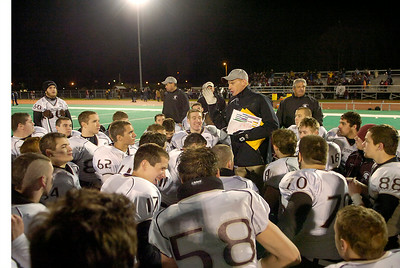 Burnt Hills coach Matt Shell talks to his team Friday in Kingston after they beat Cornwall. Ed Burke 11/20/09