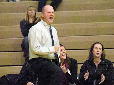 BHBL's girls varsity volleyball coach Gary Bynon cheers on his Spartans during Tuesday's Sectional win over South High at Shenendehowa. Ed Burke 11/9/10