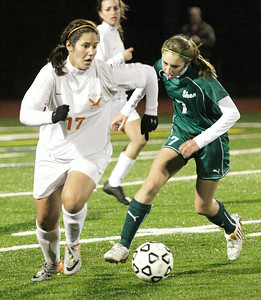 Bethlehem's Kristina Maksuti works to stay ahead of Shen's Emily DePoy during the Section II Class AA girls soccer championship Wednesday at Stillwater. Maksuti scored the only goal of the game to extend Bethlehem's season. Ed Burke 11/10/10