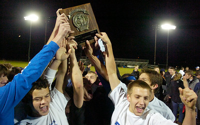Saratoga boys celebrating holding their winning plaque after their co-championship Sectional soccer game at Colonie against Ballston Spa, Saratoga winning in final penalty kick. Photo Erica Miller 11/10/10 spt_togabspa4_Thurs