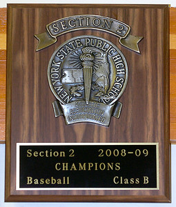 Section 2 Class B plaque awarded to Saratoga Central Catholic's varsity baseball team this season. Ed Burke 7/14/09
