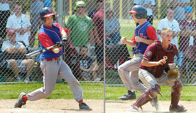 Maple Hill's Mike Doughtie rips into a fourth inning base hit driving in teammate Shane McInerney during Saturday's 10-8 win over Fort Plain whose catcher Bo Baker waits for the throw at left. Ed Burke 6/6/09