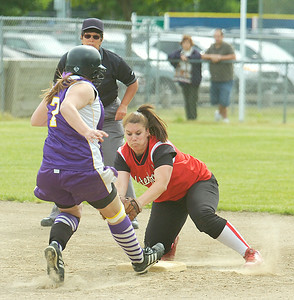 Duanesburg's Melissa Kuhl is safe at second beating the tag by Waterford-Halfmoon's Jamie VanBramer during Wednesday's game in Clifton Park.  Ed Burke 6/3/09