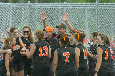 Schuylerville celebrates their Class B semifinal win over Taconic Hills Tuesday in Queensbury. Ed Burke 6/2/09