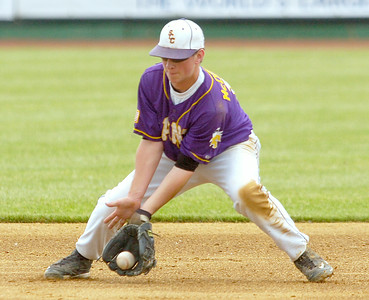 Saratoga Central Catholic shortstop  Billy McDonough fields a hit by Fonda-Fultonville's Sean Myers during Friday's Class B final at The Joe. McDonough's throw beat Myers to first for the out. The Saints beat the Braves 9-2 to take the title. Ed Burke 6/5/09