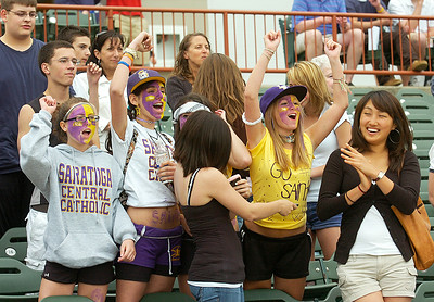 Fans cheer Saratoga Central Catholic's Section II Class B win over Fonda-Fultonville Friday at Hudson Valley Community College in Troy. Ed Burke 6/5/09