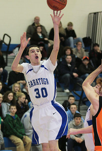 Saratoga's Anthony Luciano takes an outside jumper during Friday's game against Bethlehem. Ed Burke 2/6/09