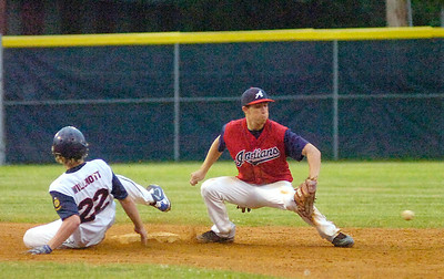 Saratoga Stampede's Kyle Willmott is safe at second on a hit in the second inning during Tuesday's game against the Anaconda Indians at East Side Rec. Ed Burke 6.22.10