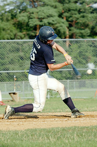 Up to bat Jack Keller, Saratoga Stampede, hits the ball during their baseball game against Granville at East Side Rec Wednesday afternoon. Photo Erica Miller 7/14/10 spt_StampdGran2_Thurs