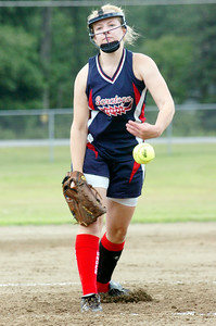 Saratoga Thunder pitcher Kristi Burgeis (?) warms up pitching during their softball game against The Rage Saturday morning at Veterans Park. Photo Erica Miller 7/10/10 spt_Thunder3_Sun