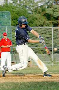 Up to bat Kyle Willmott, Saratoga Stampede, hits the ball during their baseball game against Granville at East Side Rec Wednesday afternoon. Photo Erica Miller 7/14/10 spt_StampdGran3_Thurs