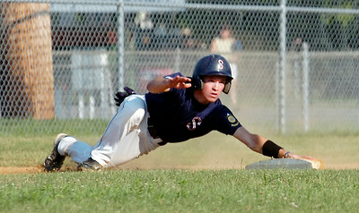 Saratoga Stampede Dale Long slides safely into third base during their baseball game against Granville at East Side Rec Wednesday afternoon. Photo Erica Miller 7/14/10 spt_StampdGran5_Thurs