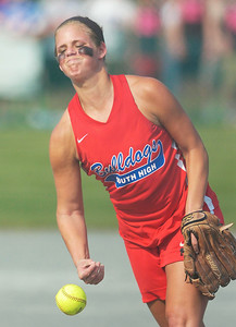 South Glens Falls pitcher Maddy Wheeler throws against Phoenix Central during the Bulldogs regional win Wednesday at Adirondack Sports Complex in Queensbury. Ed Burke 6/8/11
