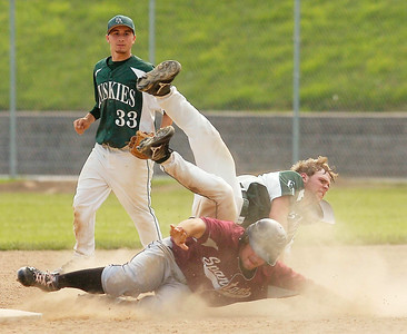 BH-BL's Mike Brienza takes out  Franklin Academy's Jason Stepnoski as he trys for second during Tuesday's Class A regional final at Bleeker Stadium in Albany.  Brienza was out on the play. Ed Burke 6/7/11
